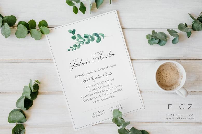 Esküvői meghívó egyedi grafikával. Virágos, kézzel festett zöld növényes, greenery stílusú minta, akvarell technikával. Személyre szabott esküvői dizájn. Esküvői értesítő és meghívó kártya. #design #esküvő #kézzelfestett #grafika #esküvőigrafika #stílusosesküvő #esküvőimeghívó #értesítő