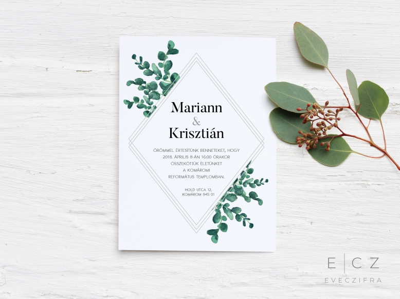 Esküvői meghívó egyedi grafikával. Virágos, kézzel festett boho stílusú minta, akvarell technikával. Személyre szabott esküvői dizájn. Esküvői értesítő és meghívó kártya. #design #esküvő #kézzelfestett #grafika #esküvőigrafika #stílusosesküvő #esküvőimeghívó #értesítő