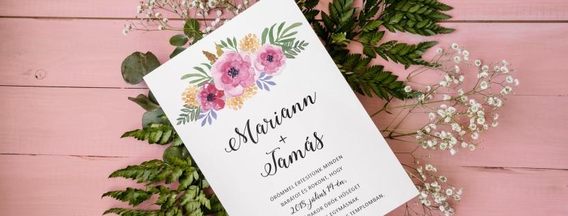 Esküvői meghívó egyedi grafikával. Virágos, kézzel festett boho stílusú minta, akvarell technikával. Személyre szabott esküvői dizájn. #design #esküvő #kézzelfestett #grafika #esküvőigrafika #stílusosesküvő