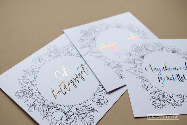 Esküvői meghívó és gratuláló kártya, egyedi grafikával. Virágos, festett boho stílusú minta, akvarell technikával. Személyre szabott esküvői dizájn. Esküvői gratuláció képeslap. Aranyozott, ezüstözött képeslap egyedi grafikával anyák napjára.  #design #esküvő #egyedi #gratuláció #gratulálókártya #esküvőigratuláció #grafika #esküvőigrafika #stílusosesküvő #esküvőimeghívó #értesítő #anyáknapja