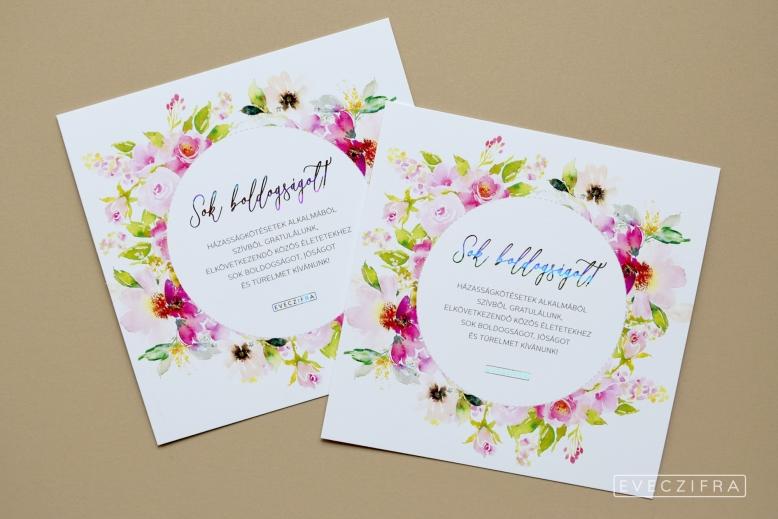 Esküvői meghívó és gratuláló kártya, egyedi grafikával. Virágos, festett boho stílusú minta, akvarell technikával. Személyre szabott esküvői dizájn. Esküvői gratuláció képeslap #design #esküvő #egyedi #gratuláció #gratulálókártya #esküvőigratuláció #grafika #esküvőigrafika #stílusosesküvő #esküvőimeghívó #értesítő