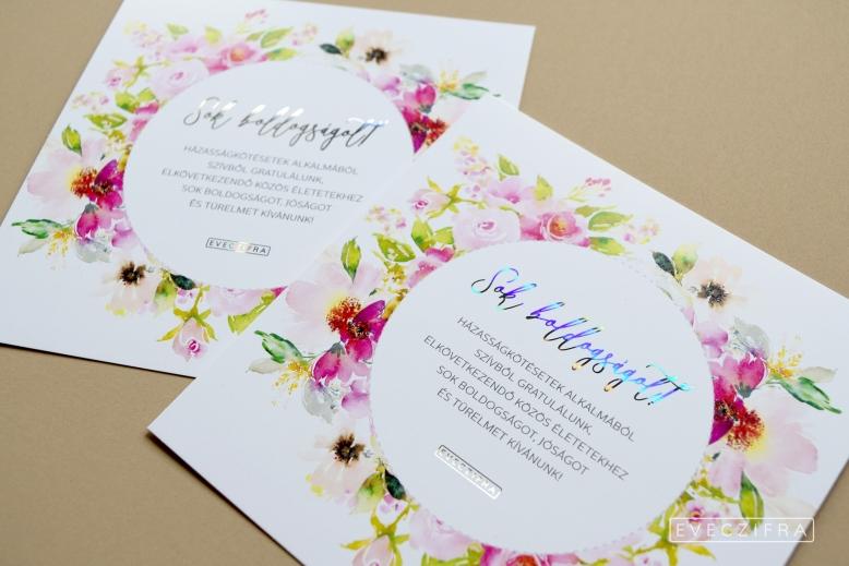 Esküvői meghívó és gratuláló kártya, egyedi grafikával. Virágos, festett boho stílusú minta, akvarell technikával. Személyre szabott esküvői dizájn. Esküvői gratuláció képeslap. Aranyozott, ezüstözött képeslap egyedi grafikával esküvőre, születésnapra.  #design #esküvő #egyedi #gratuláció #gratulálókártya #esküvőigratuláció #grafika #esküvőigrafika #stílusosesküvő #esküvőimeghívó #értesítő #anyáknapja
