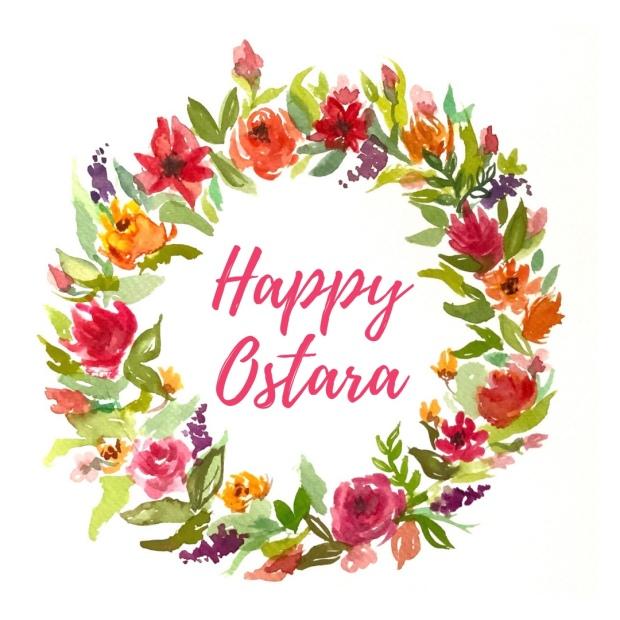 Watercolor flower wreath Ostara Easter